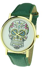 relógio crânio vestido estilo punk de quartzo analógico das mulheres (cores sortidas)