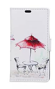 rojo patrones paraguas cartera de tarjeta de cuero de la PU caso de cuerpo completo para el deseo htc 826