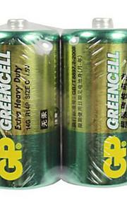 gp 2 stuks 1.5v c-type r14 carbon batterij