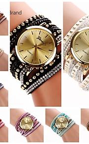 relógio grande circuito cogumelo diamante mostrador redondo reunindo quartzo banda feminina (cores sortidas) c&d222
