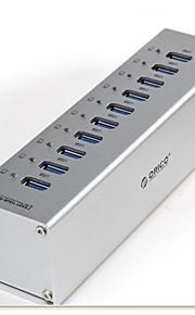 Orico a3h10 10-port USB 3.0 high speed hub m / switch / LED-indikator / os plug strømadapter