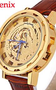 relógio relógio padrão Phoenix chinês automático relógio de pulso mecânico pu auto couro auto-vento dos homens (cores sortidas)