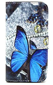 HTC의 M9 파란색 나비 패턴 PU 가죽 지갑 스탠드 기능 홀스터 케이스