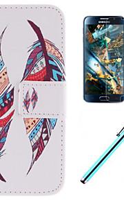 doppio disegno piuma cuoio dell'unità di elaborazione caso corpo pieno con la pellicola e la capacità penna per Samsung nucleo della