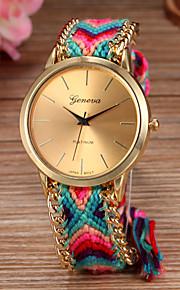 Mulheres Relógio de Moda Quartzo corda trançada Tecido Banda Boêmio Cores Múltiplas Dourado Ouro / Branco Dourado/Vermelho