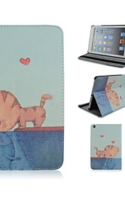 Cat Pattern PU Leather Case with Stand and Pen for iPad 2/3/4