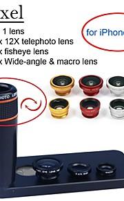 apexel 4 i 1 objektiv kit 12x svart teleobjektiv + fisheye-objektiv + vidvinkel + makrokameralinsen med fallet för iphone 5 5s