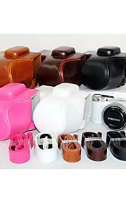 dengpin pu óleo da pele de couro tampa da câmera destacável saco caso para samsung nx500 com a lente 16-50mm (cores sortidas)