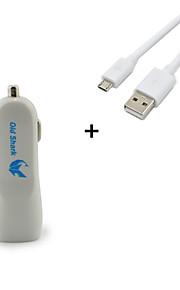 oldshark 5v 2a Dual USB-poorten auto-oplader adapter (wit) voor iPhone Samsung Android-apparaten + micro-kabel voor gratis