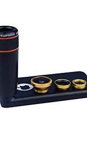 apexel 4 i 1 skit 8x svart teleskop lins + fisheye-objektiv + vidvinkel + makrokameralinsen med fallet för iphone 5c