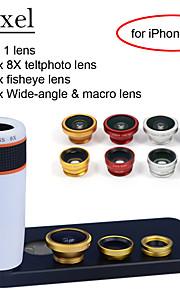 apexel 4 i 1 skit 8x vit teleskop lins + fisheye-objektiv + vidvinkel + makrokameralinsen med fallet för iphone 5 5s