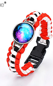 Lureme®Europestyle Brief Red Intertwine  Black White Weave Parachute Cord Blue Starry Sky Time Gem  Alloy Bracelet