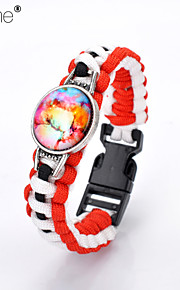 Lureme®Europestyle Brief Red Intertwine  Black White Weave Parachute Cord Dream Starry Sky Time Gem Alloy Bracelet
