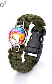 Lureme®Europestyle Brief Army Green Weave Parachute Cord Dream Starry Sky Time Gem Survival Whistle Alloy Bracelet
