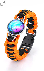 Lureme®Europestyle Brief Orange Intertwine  Black White Weave Parachute Cord Blue Starry Sky Time Gem  Alloy Bracelet