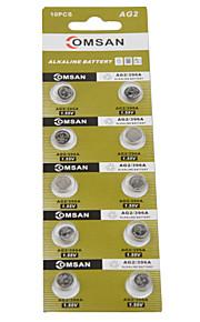 comsan AG2 lr726 396 sr726 196 hoge capaciteit knop batterijen (10st)