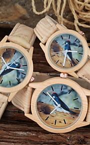 familiy definir pai-filho relógio ocasional pica-pau design de madeira pu pulseira de relógio de pulso