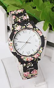 mulheres deluxe de silicone alça de estilo flor esportes geléia de quartzo analógico relógio de pulso