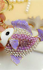 søde rhinestone fisk formet nøglering (tilfældige farver)