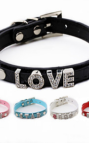 DIY Adjustable PU Leather Diamond Collar for Pets Dogs/Cats(Assoted Colors,Sizes)
