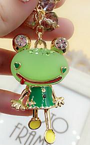 søde efterligning perler rhinestone frog nøglering (tilfældige farver)