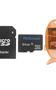 Natusun 64GB Class 10 MicroSDHC TF Memory Card with USB Card Reader and SDHC SD Adapter