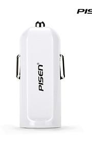 Pisen i autolader 2a sigaret oplader voor iphone, ipad, ipod, sumsung, Nexus en Android kleur wit