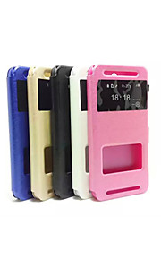 HTC E8 모듬 색상 2015 최신 플립 케이스 창 지원 실크 곡물 간단한 PU PC의 휴대 전화 쉘