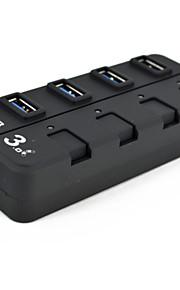 4 puertos SuperSpeed ​​USB 3.0 hub interruptores on / off
