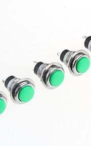 Green 12MM No Lock Button Switch 1A 250V(5Pcs)