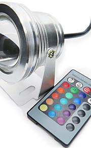 1 st HRY 10 W 1 Högeffekts-LED 850-950 LM RGB Dimbar/Fjärrstyrd Undervattensglödlampa DC 12 V