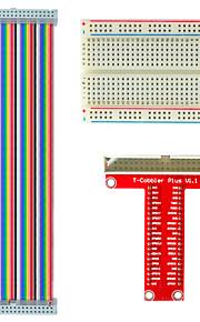 Raspberry Pie Type B GPIO Extension DIY Kit (Rainbow Wire 40P +GPIO Adapter Plate + Bread Board)