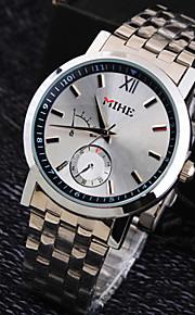 negócios de luxo cinta de aço inoxidável mostrador redondo vida moda relógio de quartzo impermeável dos homens