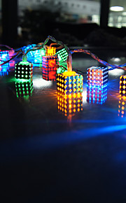 20-ledede 2m rgb smidd kube form jern firkantet anheng christmas bryllup dekorasjon