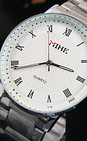 мужская простой бизнес круглый Рим набора номера ремень из нержавеющей стали модной жизни водонепроницаемый кварцевые часы