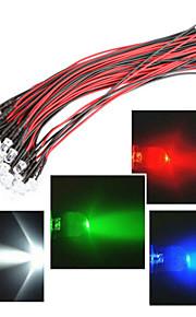 linjelengde på 20cm ledet 12v 5mm lys rød / hvit / blå / grønn / rgb 20pcs bundle
