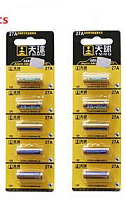 tianqiu 10st 12v 27a alkaline batterij voor draadloze deurbel / afstandsbediening / alarm