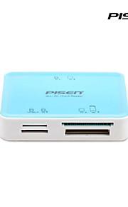 pisen פונקציה רב קורא כרטיסים 6-חריץ השני לSD / MS / XD / CF / TF / כרטיסי M2 אור כחולים