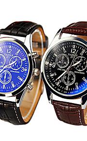 pulseira de couro de alto grau três painel de vidro azul ray relógio de quartzo casuais