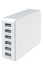 30W 6-port familie-størrelse desktop usb oplader universel 5v 6a fuld hastighed