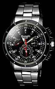 mænds afslappet sølv sort legering quartz armbåndsur