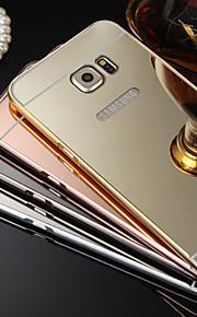 ny plating speil tilbake med metallramme telefon tilfelle for galaxy s4 / s5 / s6 / s6 kant / S6 kant + (assorterte farger)