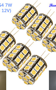 youoklight® 6шт g4 7w 600lm 3000 / 6000k * 27 SMD5050 привело кукурузы лампа / лампа кристалл бусина (AC / DC 12V)