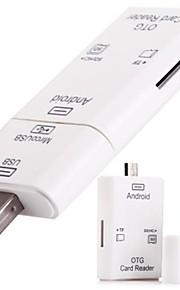 2 in 1 Micro USB und USB 2.0 OTG Kartenleser-Anschluss-Set mit TF-SD-Kartenslot - weiß