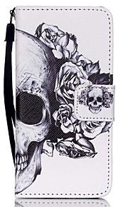 아이팟 터치 5/6에 대한 새로운 두개골 끈 PU 가죽 소재 플립 카드 휴대 전화