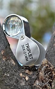 (2 stk) af høj kvalitet kreative vandtæt 30 gange forstørrelsesglasset / smykker vurdering / ultraviolet lys / metal