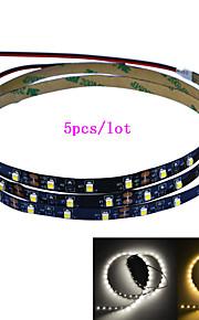 Jiawen 5pcs / lot 100cm 4w 60x3528smd hvit / varmt hvitt lys LED strip lampe for bil og kabinett (DC 12V)
