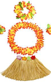 30cm Kid's Fire-Proof Double Layers Hawaiian Carnival Hula Dress Wristbands Necklace and Headpiece