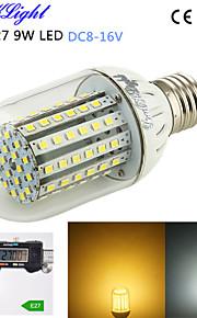 youoklight® 1pcs E27 9W 800lm 90-3528smd høy lysstyrke&lang levetid 45,000h LED lys lav spenning DC spenning dc8-16v
