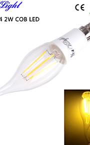 youoklight® E14 4W 4xcob 400lm varm hvit edison høykvalitets stearinlys pærer ledet filament lys ac110-120v / 220-240